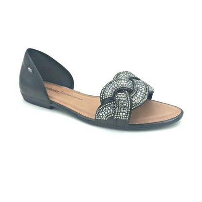 Sandália Dakota Rasteira Preta com Brilho 6831