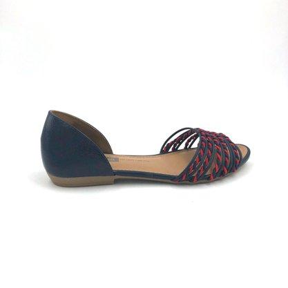 Sandália Rasteira Dakota Tiras Azul Traseiro Fechado