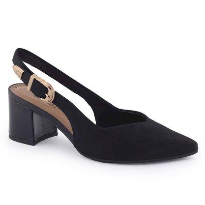 Sapato Scarpin Dakota Preto Salto Grosso Bico Fino G1072