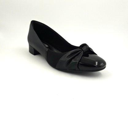 Sapato Comfortflex Preto Salto Baixo 1987302