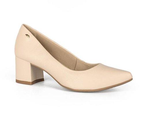 Sapato Dakota Scarpin Salto Grosso Nude Couro Legítimo