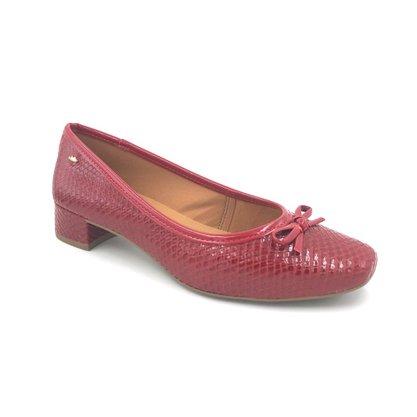Sapato Dakota Salto Baixo Croco Vermelho Laço G2253