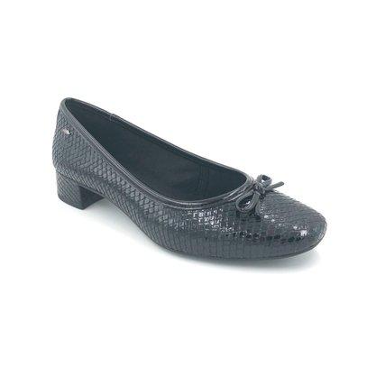 Sapato Dakota Salto Baixo Verniz Croco Preto Laço G2253