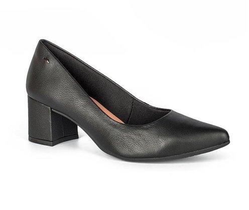 Sapato Dakota Scarpin Salto Grosso Preto Couro G1441