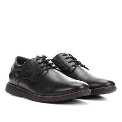 Sapato Ferracini Preto Couro Casual Cadarço Trindade