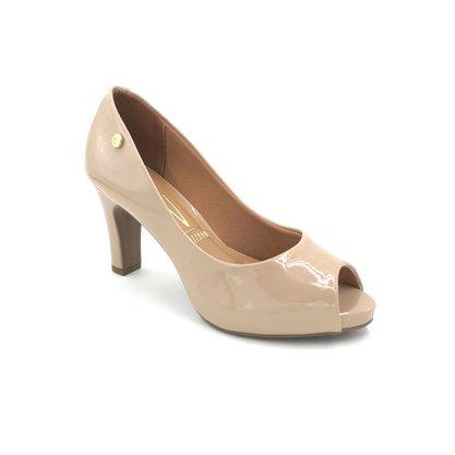 Sapato Peep Toe Vizzano Verniz Bege Salto Grosso 1840300