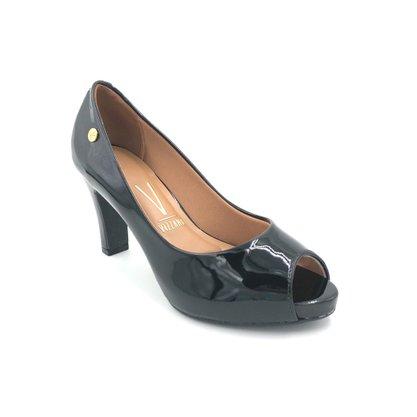 Sapato Peep Toe Vizzano Verniz Preto Salto Grosso 1840300