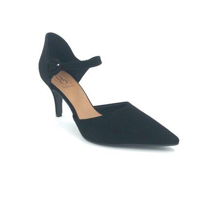 Sapato Scarpin Bebecê Preto Nobuck Bico Fino 7060-255