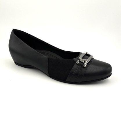 Sapato Usaflex Preto de Couro Com proteção do Joanete
