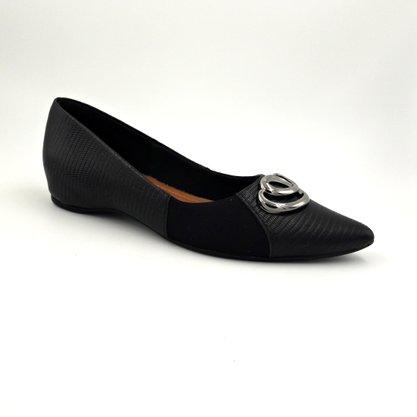 Sapato Usaflex Preto de Couro Natural Bico Fino