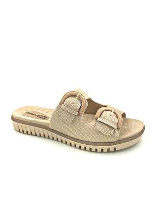 Tamanco Flats Comfortflex Nude Fivela 2045404