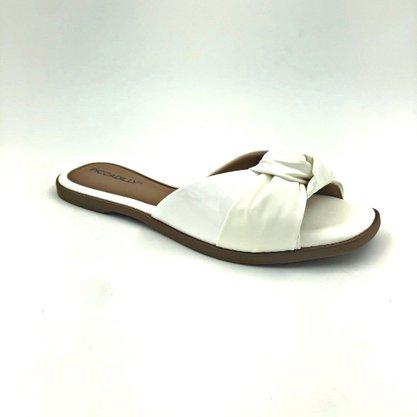 Tamanco Rasteira Piccadilly Branco Com Nó 508020