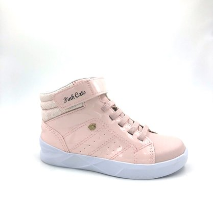 Tênis Abotinado Menina Pink Cats Rosa Cano Alto 1153