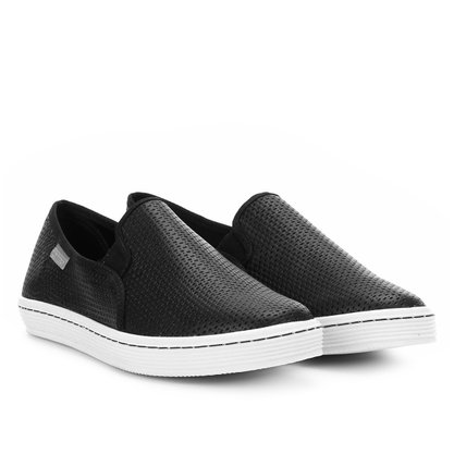 Tênis Slip On Bottero Couro Natural Preto 302001