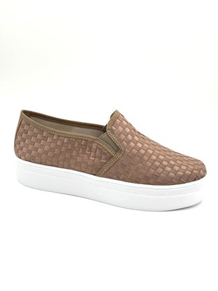 Tênis Slip On Flatform Tressê Taupe Shoes 6001